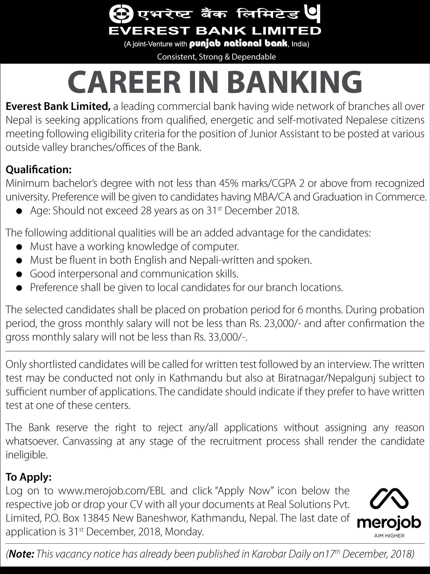 Junior Assistant - Everest Bank