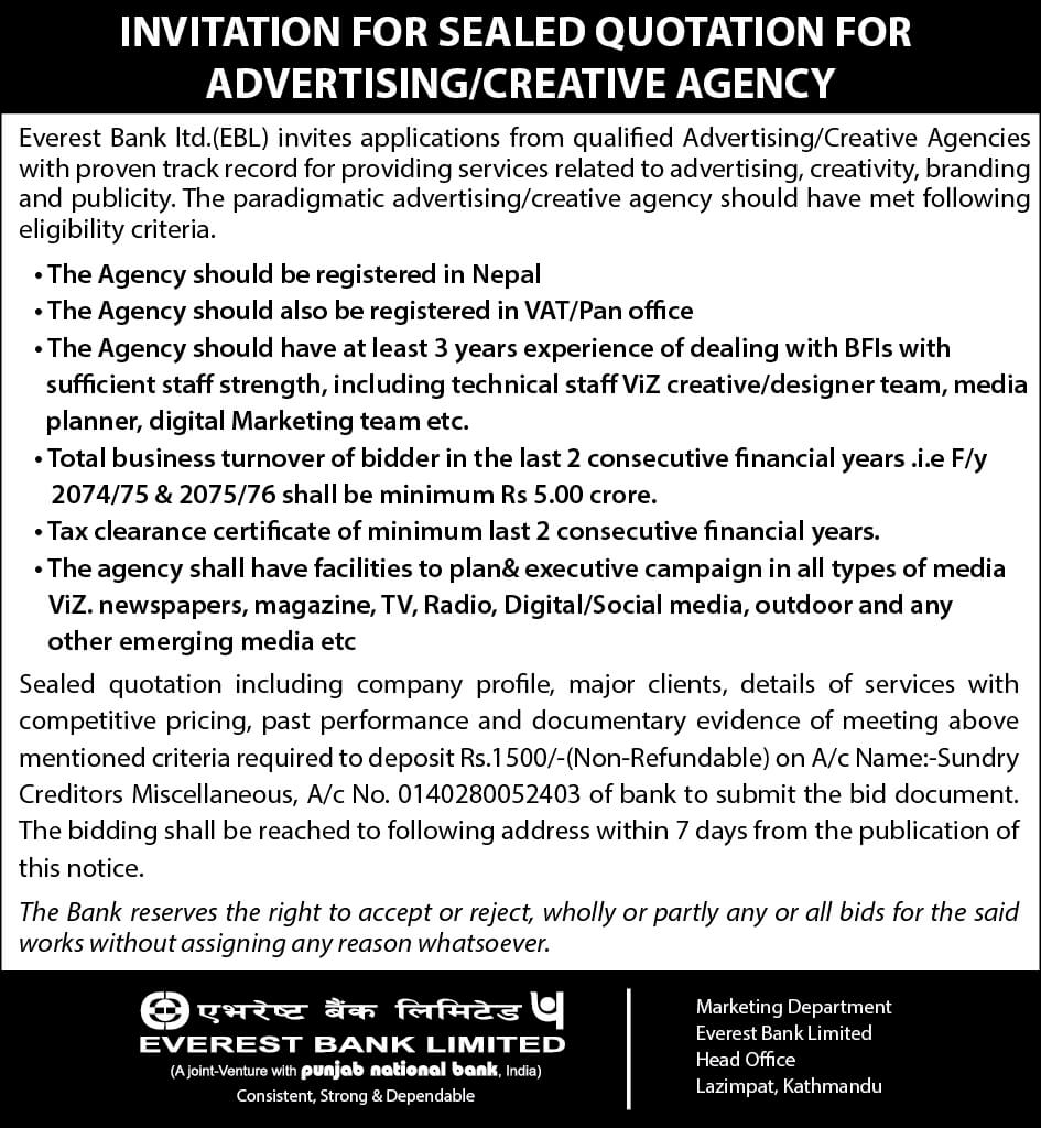 Advertising for creative agency