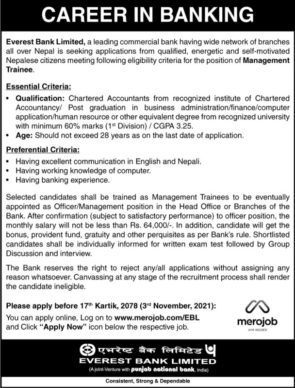 Everest Bank Career in Banking Management Trainee